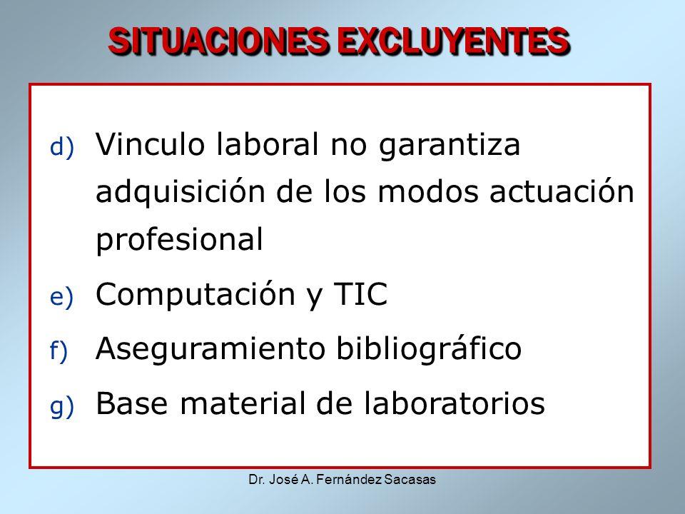 Dr. José A. Fernández Sacasas SITUACIONES EXCLUYENTES d) Vinculo laboral no garantiza adquisición de los modos actuación profesional e) Computación y