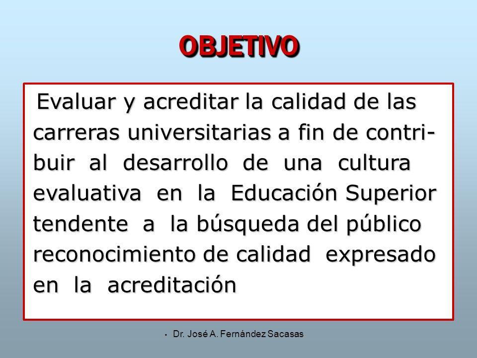 Dr. José A. Fernández Sacasas OBJETIVOOBJETIVO Evaluar y acreditar la calidad de las carreras universitarias a fin de contri- buir al desarrollo de un