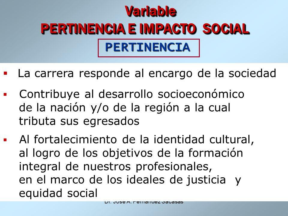 Dr. José A. Fernández Sacasas Variable PERTINENCIA E IMPACTO SOCIAL Variable PERTINENCIA E IMPACTO SOCIAL PERTINENCIA PERTINENCIA La carrera responde