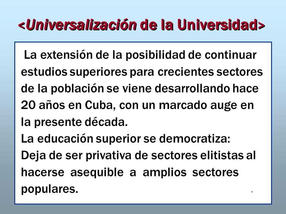 Dr. José A. Fernández Sacasas La extensión de la posibilidad de continuar estudios superiores para crecientes sectores de la población se viene desarr
