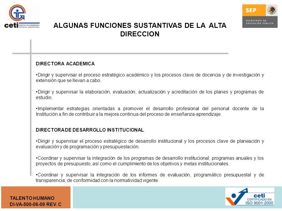 DI-VA-500-06-09 REV. C TALENTO HUMANO Sección II Estructura Orgánica