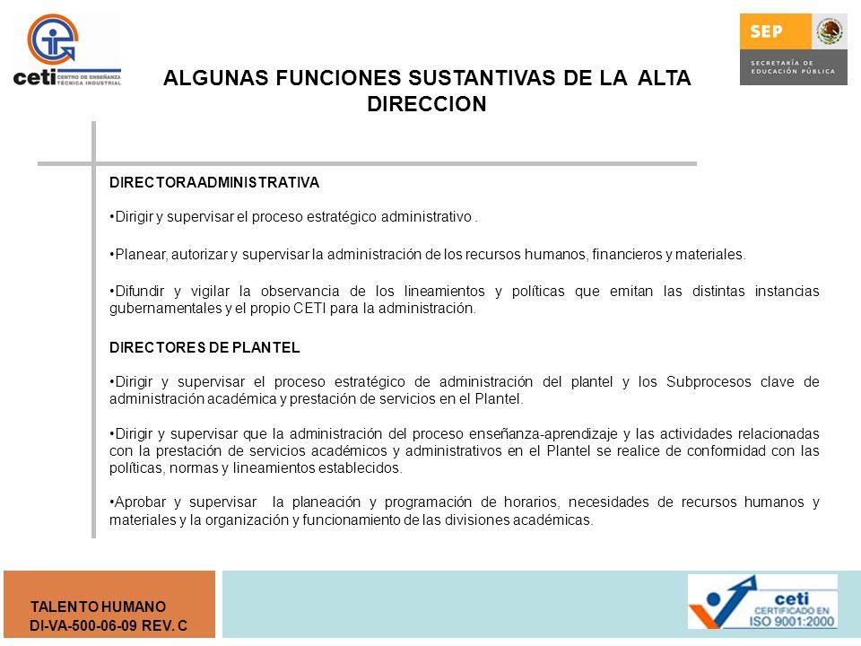 DI-VA-500-06-09 REV. C TALENTO HUMANO DIRECTORA DE DESARROLLO INSTITUCIONAL Dirigir y supervisar el proceso estratégico de desarrollo institucional y