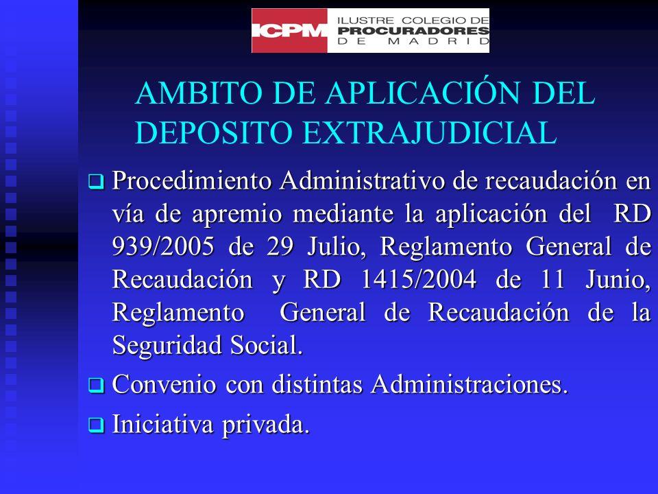 AMBITO DE APLICACIÓN DEL DEPOSITO EXTRAJUDICIAL Procedimiento Administrativo de recaudación en vía de apremio mediante la aplicación del RD 939/2005 de 29 Julio, Reglamento General de Recaudación y RD 1415/2004 de 11 Junio, Reglamento General de Recaudación de la Seguridad Social.