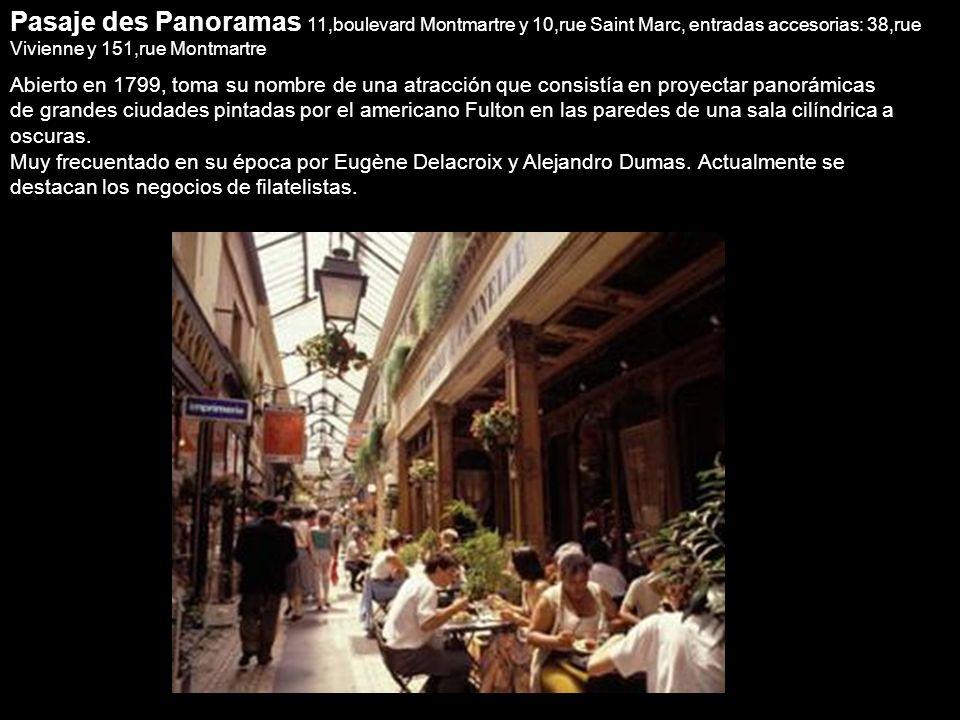 Los pasajes cubiertos ubicados en la zona de les Grands Boulevards Desde el Boulevar Montmarte a Faubourg se encuentran tres pasajes muy conocidos: de