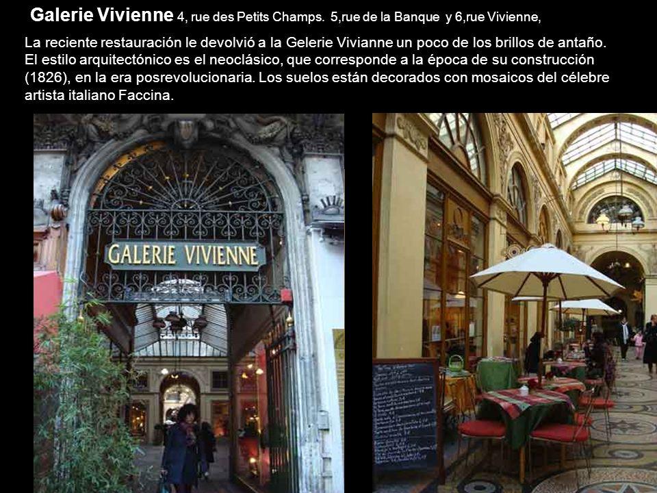 Galerie Vivienne 4, rue des Petits Champs.