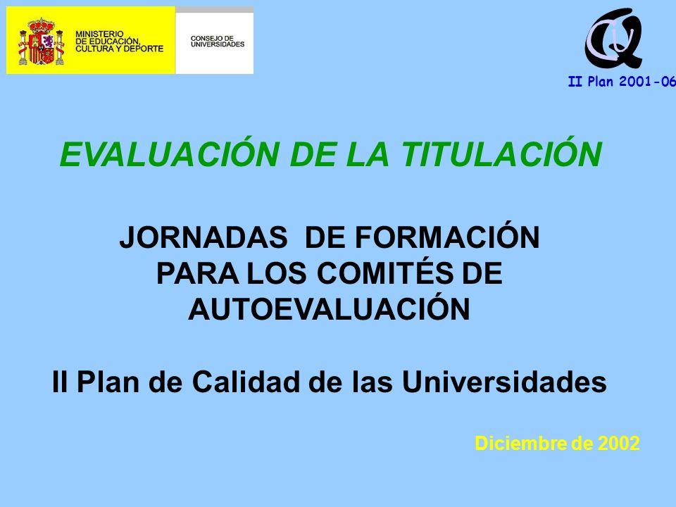 Q U C II Plan 2001-06 EVALUACIÓN DE LA TITULACIÓN JORNADAS DE FORMACIÓN PARA LOS COMITÉS DE AUTOEVALUACIÓN II Plan de Calidad de las Universidades Diciembre de 2002