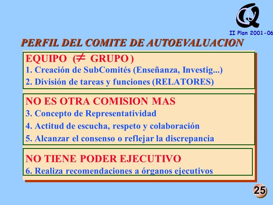 Q U C II Plan 2001-06 EQUIPO ( GRUPO ) 1. Creación de SubComités (Enseñanza, Investig...) 2.