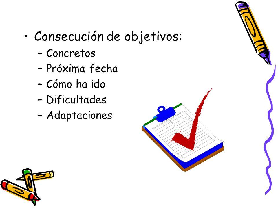 Consecución de objetivos: –Concretos –Próxima fecha –Cómo ha ido –Dificultades –Adaptaciones