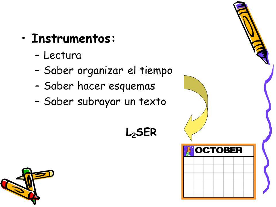 Instrumentos: –Lectura –Saber organizar el tiempo –Saber hacer esquemas –Saber subrayar un texto L 2 SER