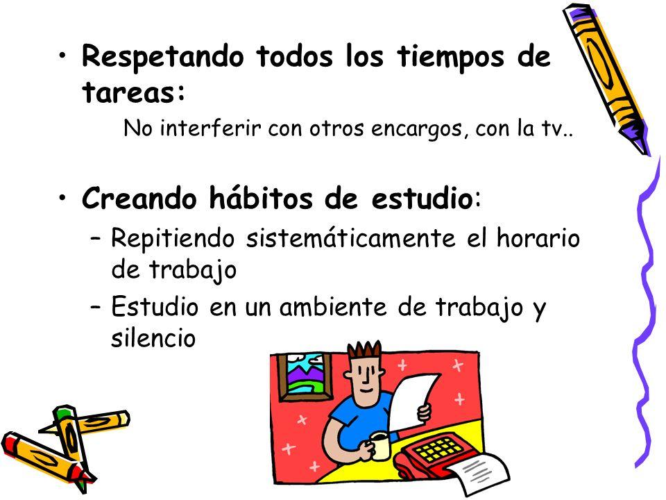 Respetando todos los tiempos de tareas: No interferir con otros encargos, con la tv.. Creando hábitos de estudio: –Repitiendo sistemáticamente el hora