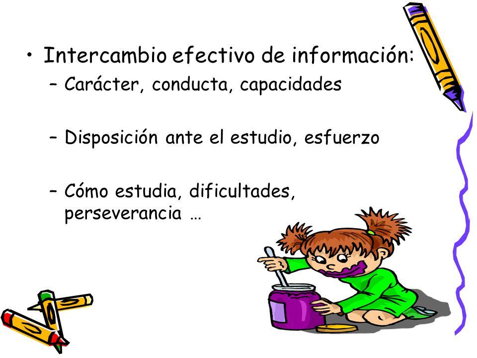 Intercambio efectivo de información: –Carácter, conducta, capacidades –Disposición ante el estudio, esfuerzo –Cómo estudia, dificultades, perseveranci