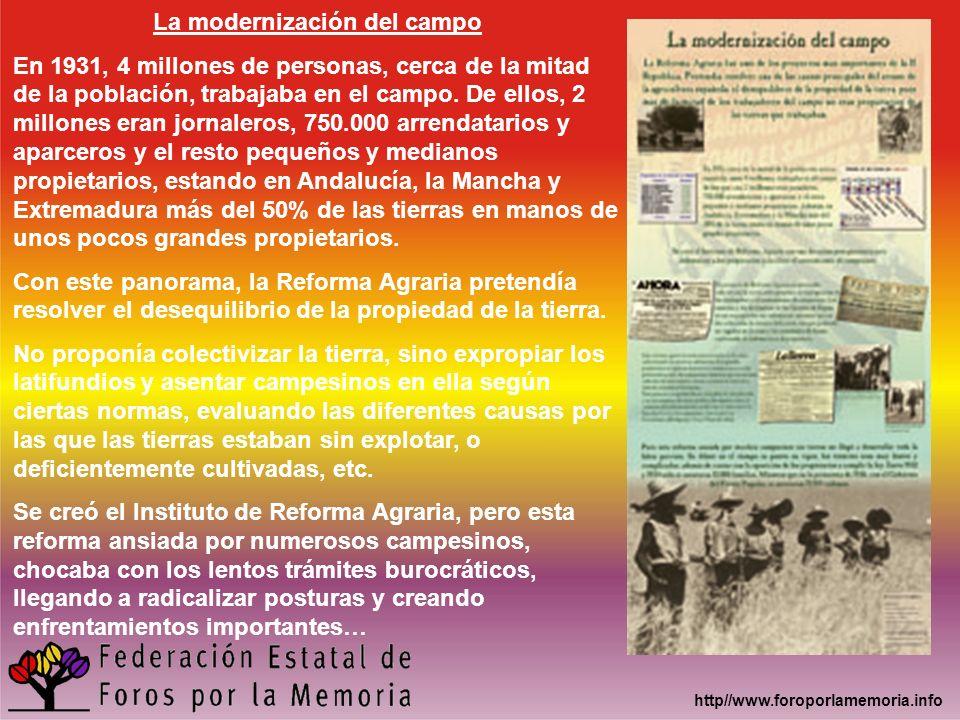 La modernización del campo En 1931, 4 millones de personas, cerca de la mitad de la población, trabajaba en el campo. De ellos, 2 millones eran jornal