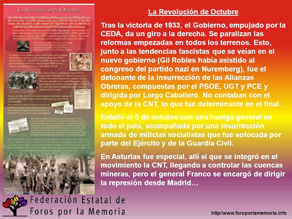 http//www.foroporlamemoria.info La Revolución de Octubre Tras la victoria de 1933, el Gobierno, empujado por la CEDA, da un giro a la derecha. Se para