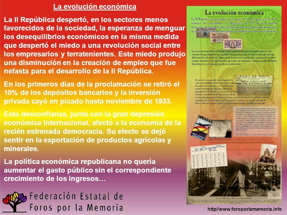 http//www.foroporlamemoria.info La evolución económica La II República despertó, en los sectores menos favorecidos de la sociedad, la esperanza de men