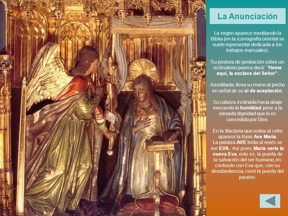La virgen aparece meditando la Biblia (en la iconografía oriental se suele representar dedicada a los trabajos manuales). Su postura de postración sob