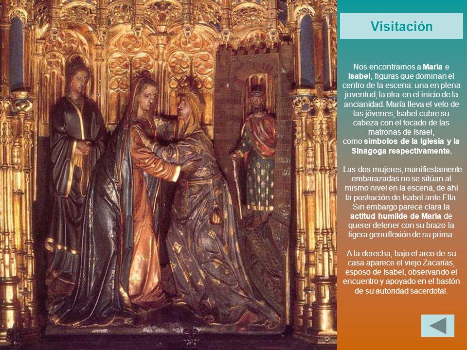Nos encontramos a María e Isabel, figuras que dominan el centro de la escena: una en plena juventud, la otra en el inicio de la ancianidad. María llev