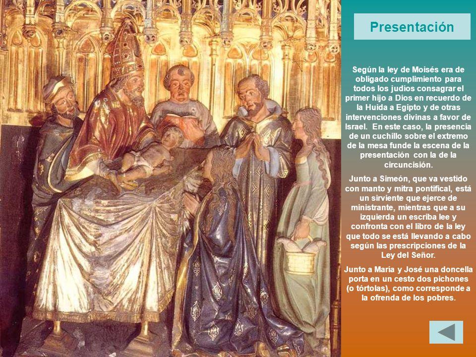 Presentación Según la ley de Moisés era de obligado cumplimiento para todos los judíos consagrar el primer hijo a Dios en recuerdo de la Huida a Egipt