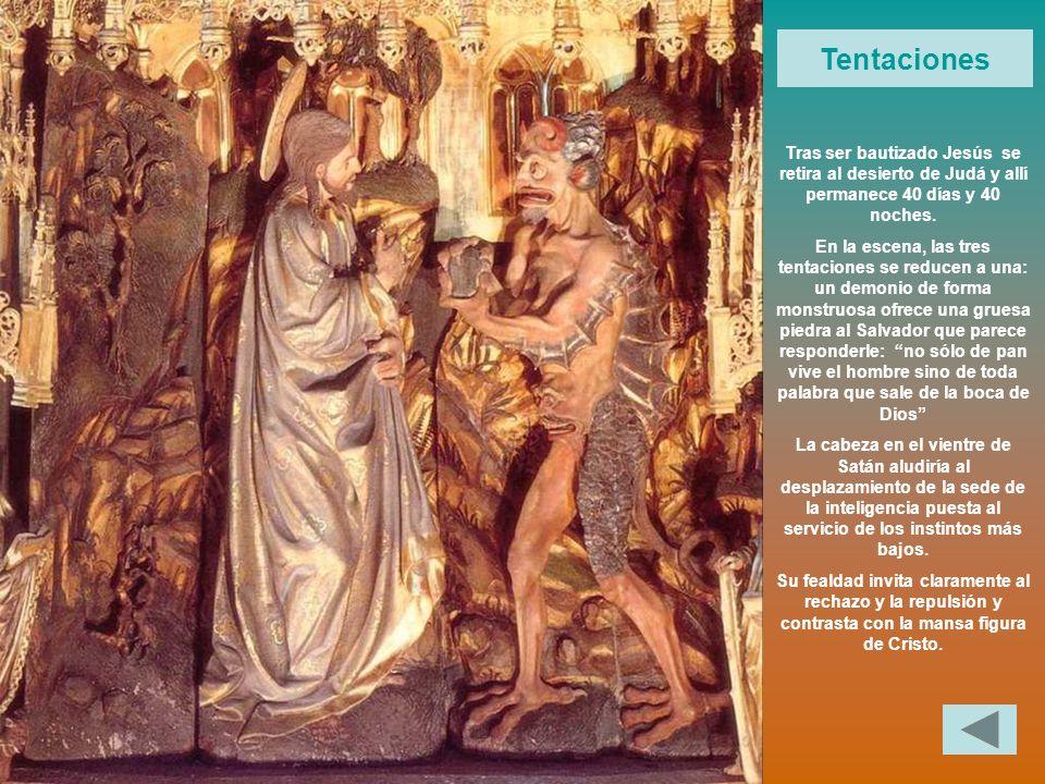 Tentaciones Tras ser bautizado Jesús se retira al desierto de Judá y allí permanece 40 días y 40 noches. En la escena, las tres tentaciones se reducen