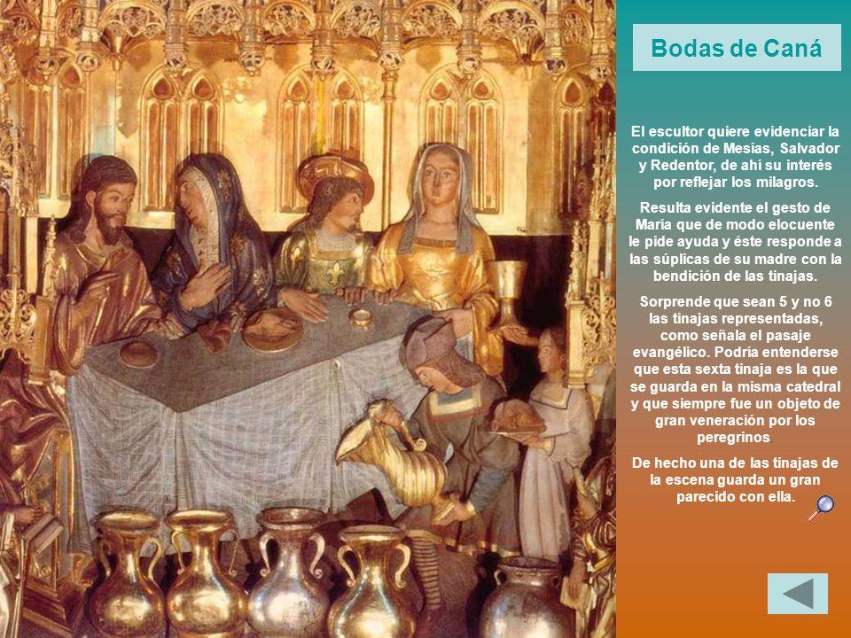 Bodas de Caná El escultor quiere evidenciar la condición de Mesías, Salvador y Redentor, de ahí su interés por reflejar los milagros. Resulta evidente
