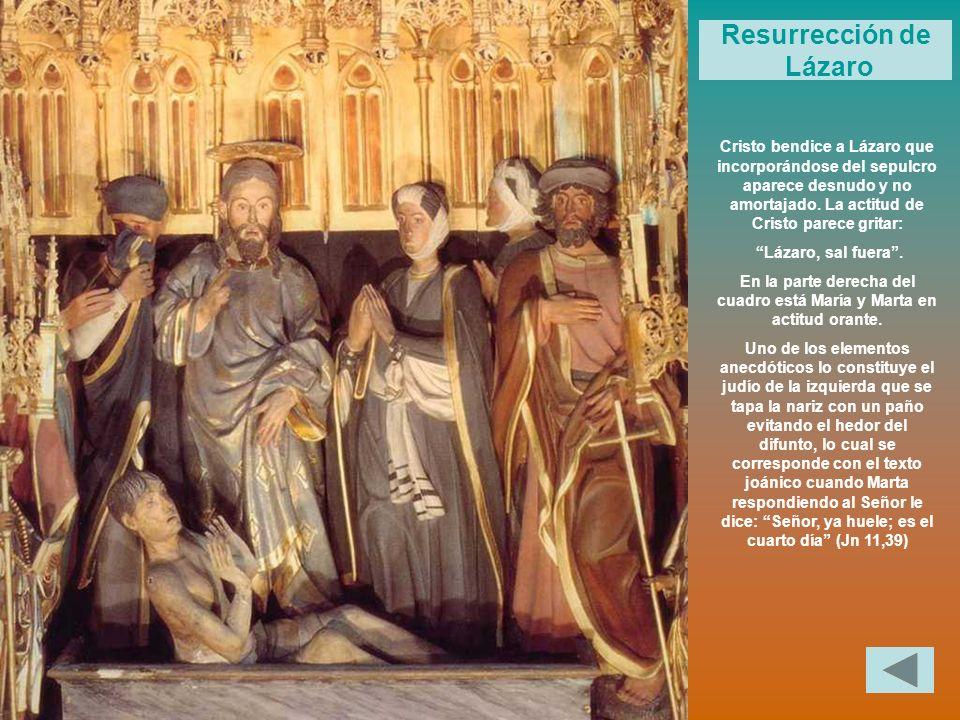 Cristo bendice a Lázaro que incorporándose del sepulcro aparece desnudo y no amortajado. La actitud de Cristo parece gritar: Lázaro, sal fuera. En la