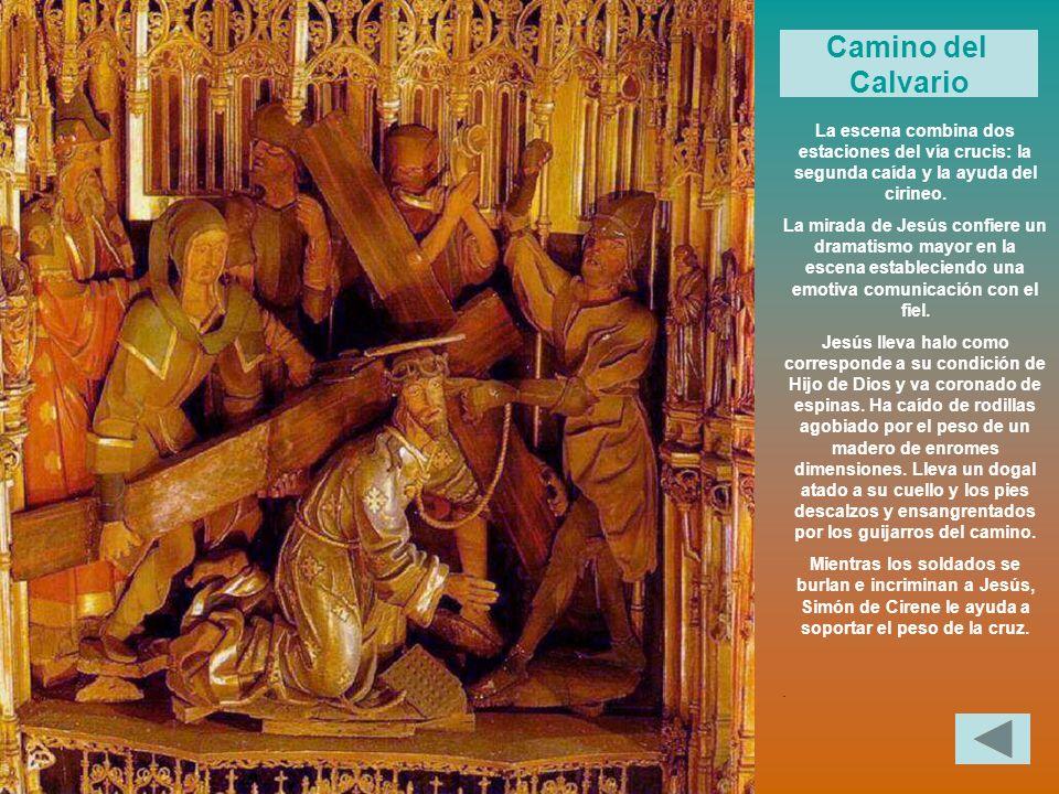 La escena combina dos estaciones del vía crucis: la segunda caída y la ayuda del cirineo. La mirada de Jesús confiere un dramatismo mayor en la escena