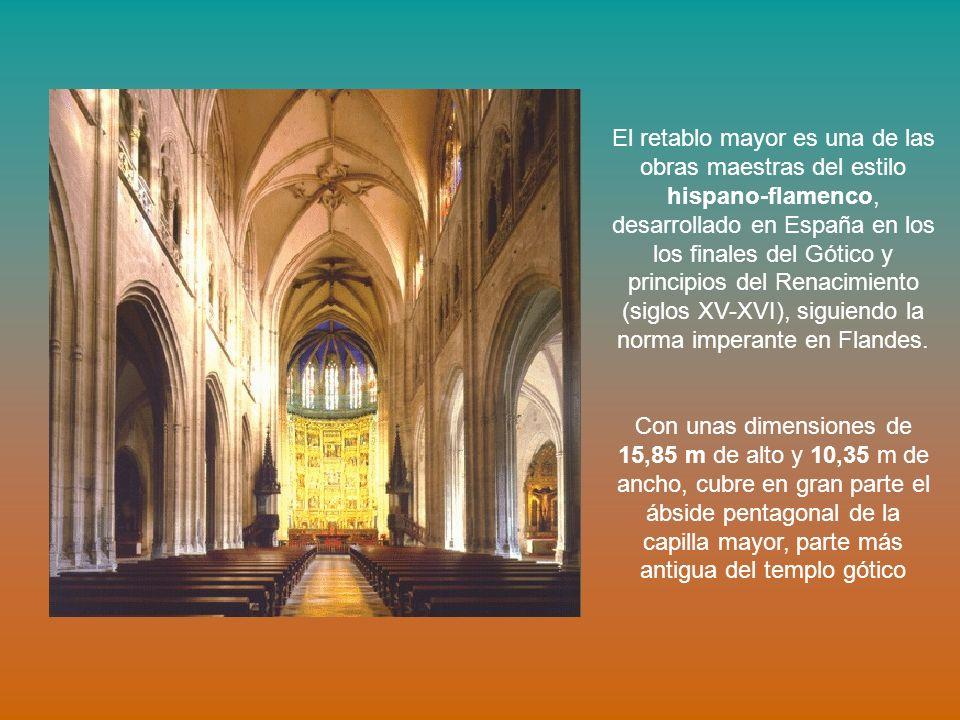 El retablo mayor es una de las obras maestras del estilo hispano-flamenco, desarrollado en España en los los finales del Gótico y principios del Renac