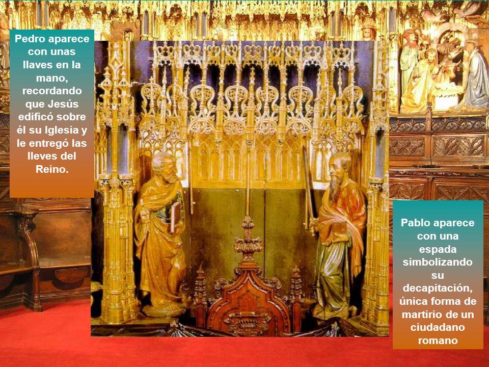 La sede del Obispo, desde la que ejerce su ministerio de predicar y enseñar, ocupa el espacio central de la Predela y se encuentra flanqueada por las