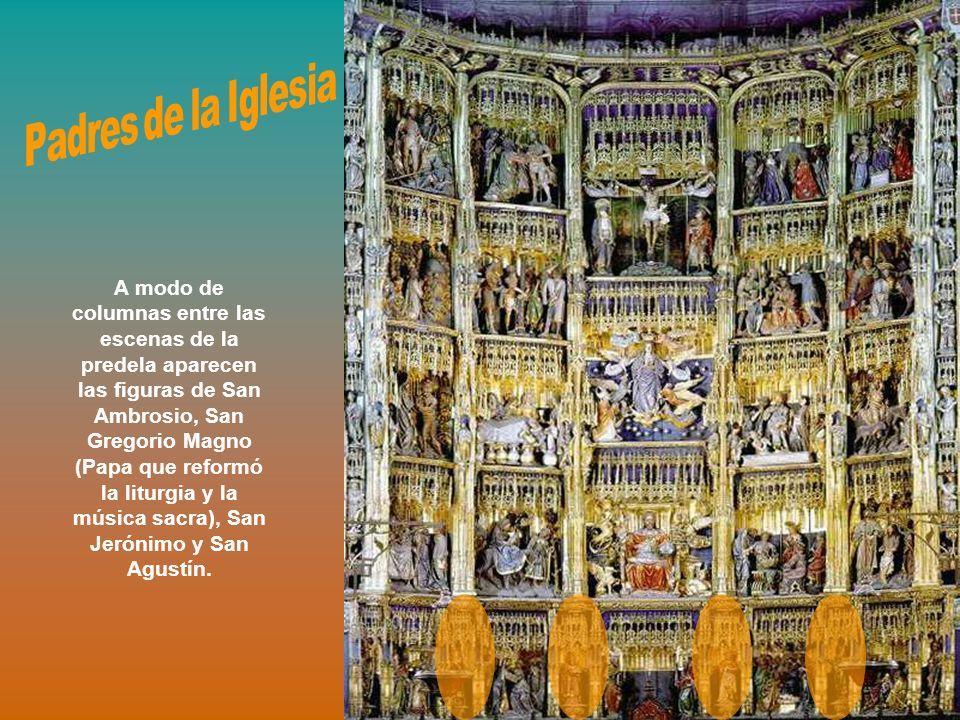 A modo de columnas entre las escenas de la predela aparecen las figuras de San Ambrosio, San Gregorio Magno (Papa que reformó la liturgia y la música