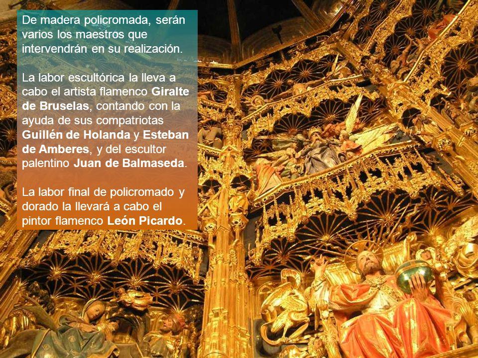 De madera policromada, serán varios los maestros que intervendrán en su realización. La labor escultórica la lleva a cabo el artista flamenco Giralte