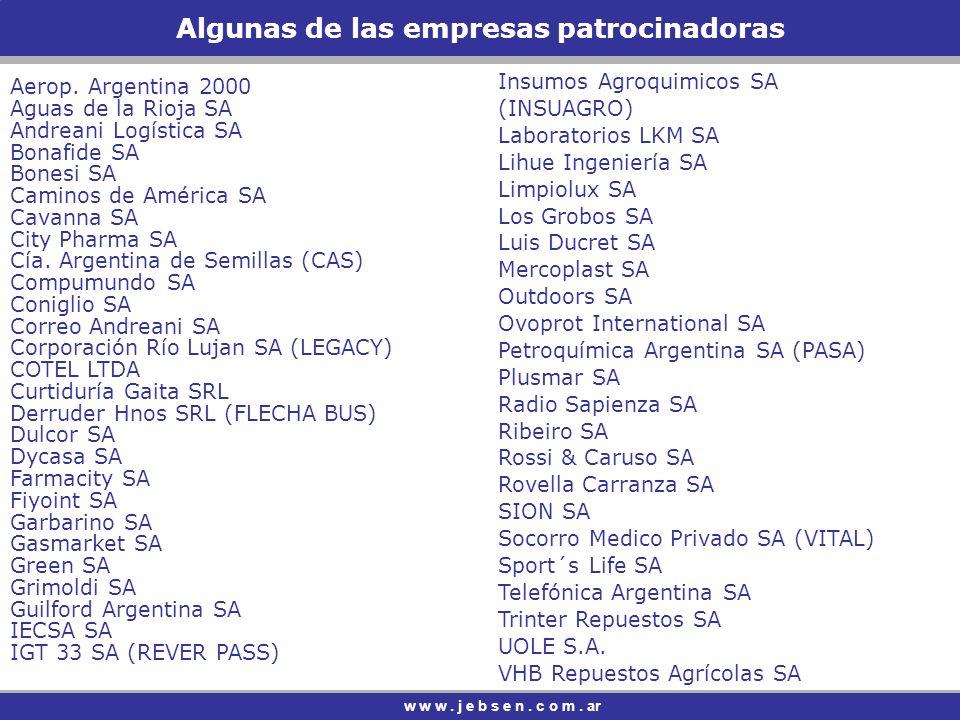 Algunas de las empresas patrocinadoras w w w.j e b s e n.