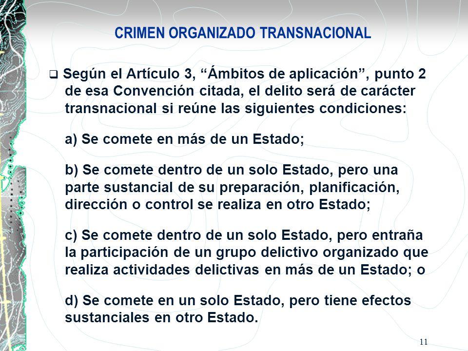 11 CRIMEN ORGANIZADO TRANSNACIONAL Según el Artículo 3, Ámbitos de aplicación, punto 2 de esa Convención citada, el delito será de carácter transnacio