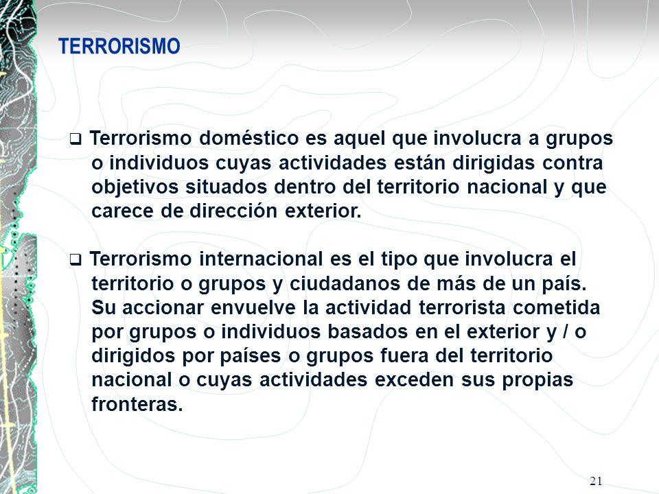21 TERRORISMO Terrorismo doméstico es aquel que involucra a grupos o individuos cuyas actividades están dirigidas contra objetivos situados dentro del