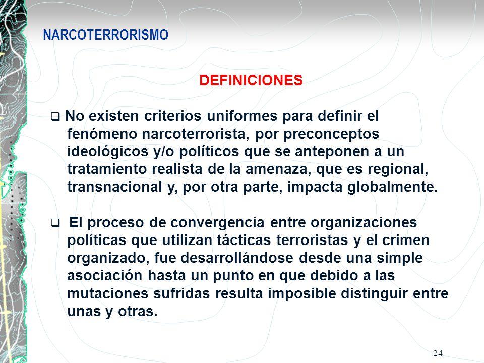24 NARCOTERRORISMO DEFINICIONES No existen criterios uniformes para definir el fenómeno narcoterrorista, por preconceptos ideológicos y/o políticos qu
