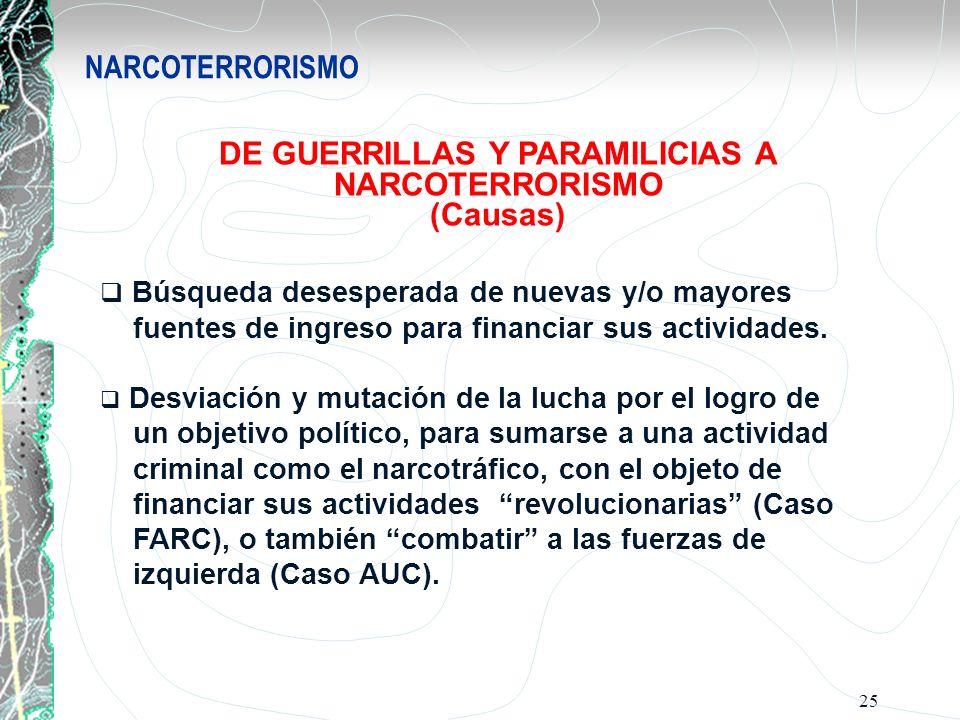 25 NARCOTERRORISMO DE GUERRILLAS Y PARAMILICIAS A NARCOTERRORISMO (Causas) Búsqueda desesperada de nuevas y/o mayores fuentes de ingreso para financia