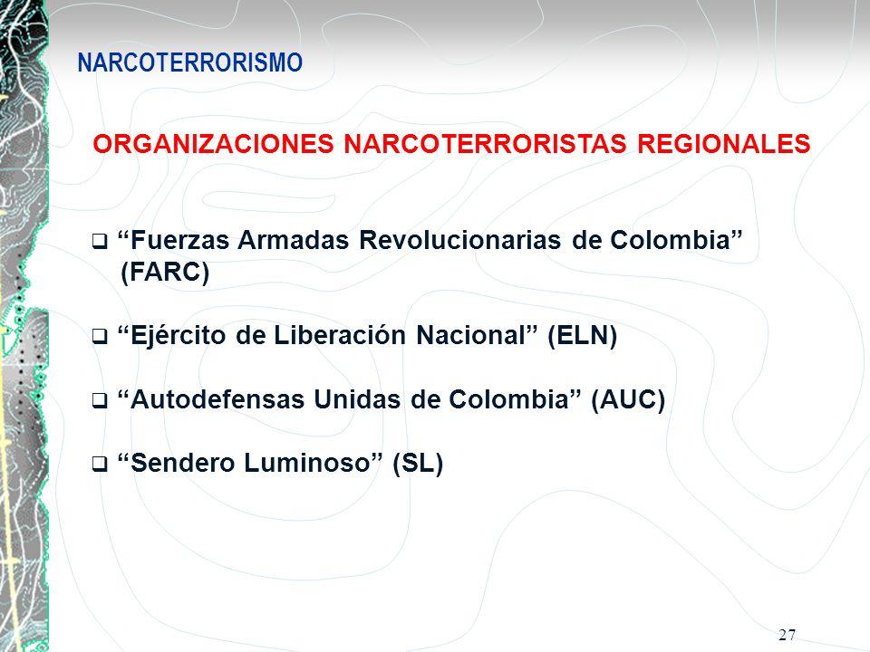 27 NARCOTERRORISMO ORGANIZACIONES NARCOTERRORISTAS REGIONALES Fuerzas Armadas Revolucionarias de Colombia (FARC) Ejército de Liberación Nacional (ELN)
