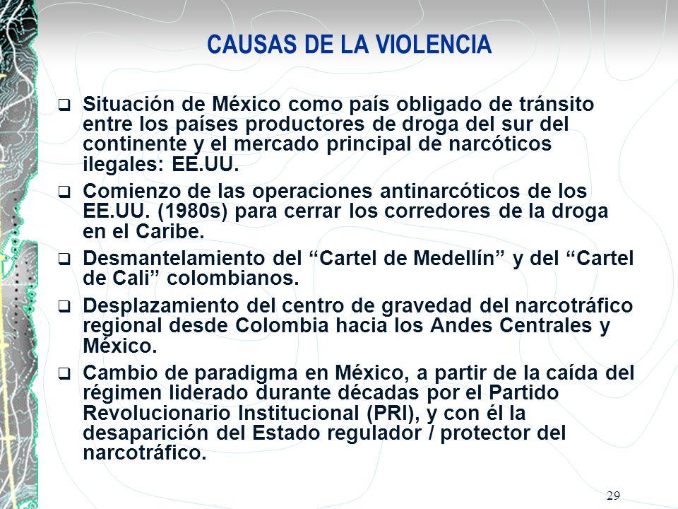 29 CAUSAS DE LA VIOLENCIA Situación de México como país obligado de tránsito entre los países productores de droga del sur del continente y el mercado