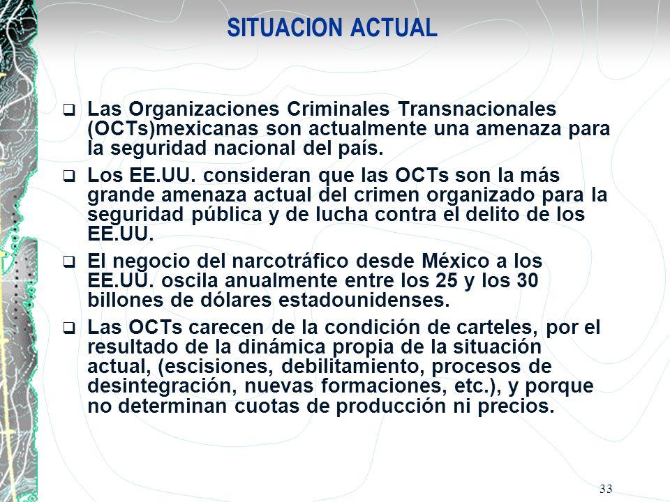 33 SITUACION ACTUAL Las Organizaciones Criminales Transnacionales (OCTs)mexicanas son actualmente una amenaza para la seguridad nacional del país. Los