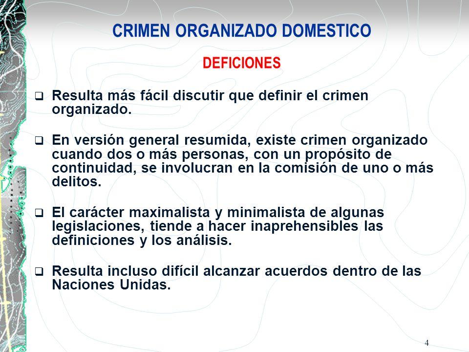 4 CRIMEN ORGANIZADO DOMESTICO DEFICIONES Resulta más fácil discutir que definir el crimen organizado. En versión general resumida, existe crimen organ