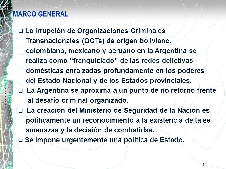 44 MARCO GENERAL La irrupción de Organizaciones Criminales Transnacionales (OCTs) de origen boliviano, colombiano, mexicano y peruano en la Argentina