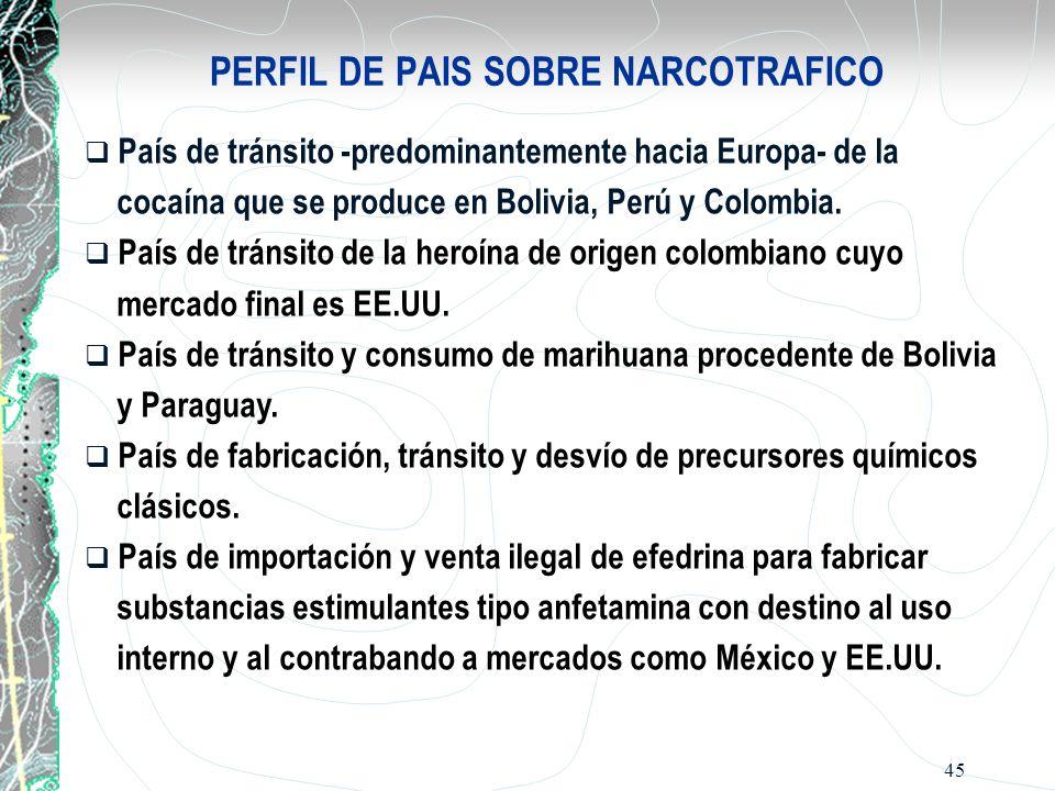 45 PERFIL DE PAIS SOBRE NARCOTRAFICO País de tránsito -predominantemente hacia Europa- de la cocaína que se produce en Bolivia, Perú y Colombia. País