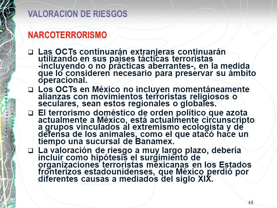 48 VALORACION DE RIESGOS NARCOTERRORISMO Las OCTs continuarán extranjeras continuarán utilizando en sus países tácticas terroristas -incluyendo o no p