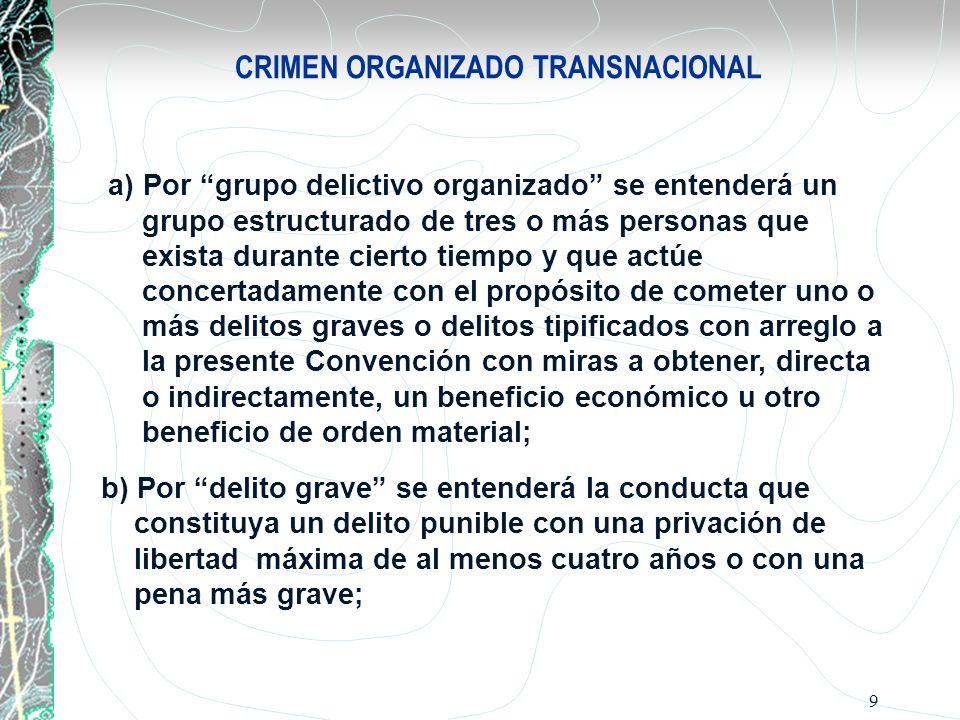 9 CRIMEN ORGANIZADO TRANSNACIONAL a) Por grupo delictivo organizado se entenderá un grupo estructurado de tres o más personas que exista durante ciert