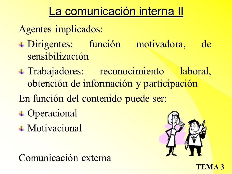 TEMA 3 La comunicación interna II Agentes implicados: Dirigentes: función motivadora, de sensibilización Trabajadores: reconocimiento laboral, obtención de información y participación En función del contenido puede ser: Operacional Motivacional Comunicación externa