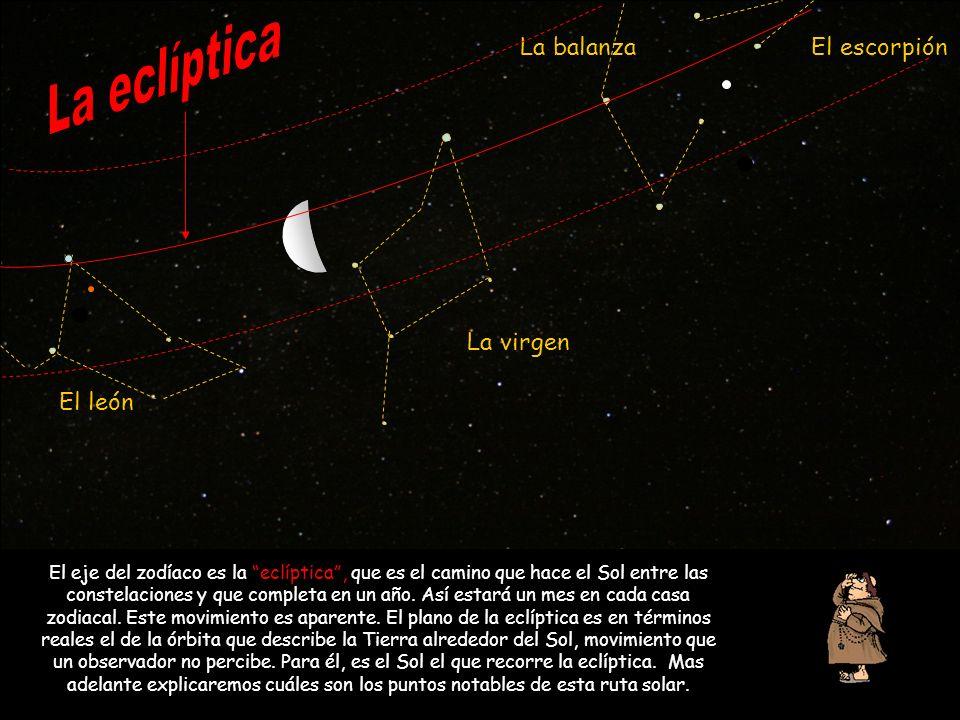 El león La virgen La balanzaEl escorpión El eje del zodíaco es la eclíptica, que es el camino que hace el Sol entre las constelaciones y que completa
