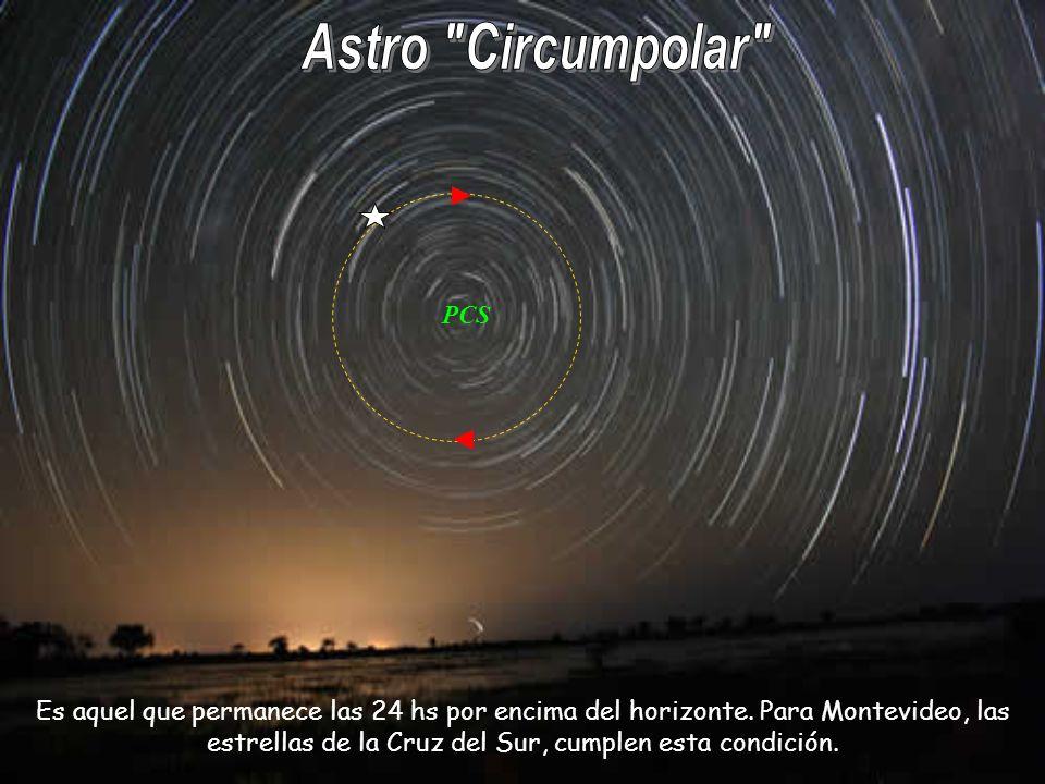 PCS Es aquel que permanece las 24 hs por encima del horizonte. Para Montevideo, las estrellas de la Cruz del Sur, cumplen esta condición.