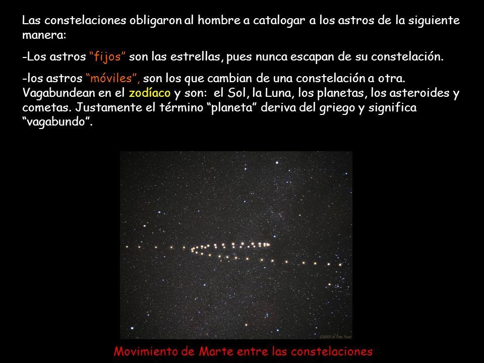Las constelaciones obligaron al hombre a catalogar a los astros de la siguiente manera: -Los astros fijos son las estrellas, pues nunca escapan de su