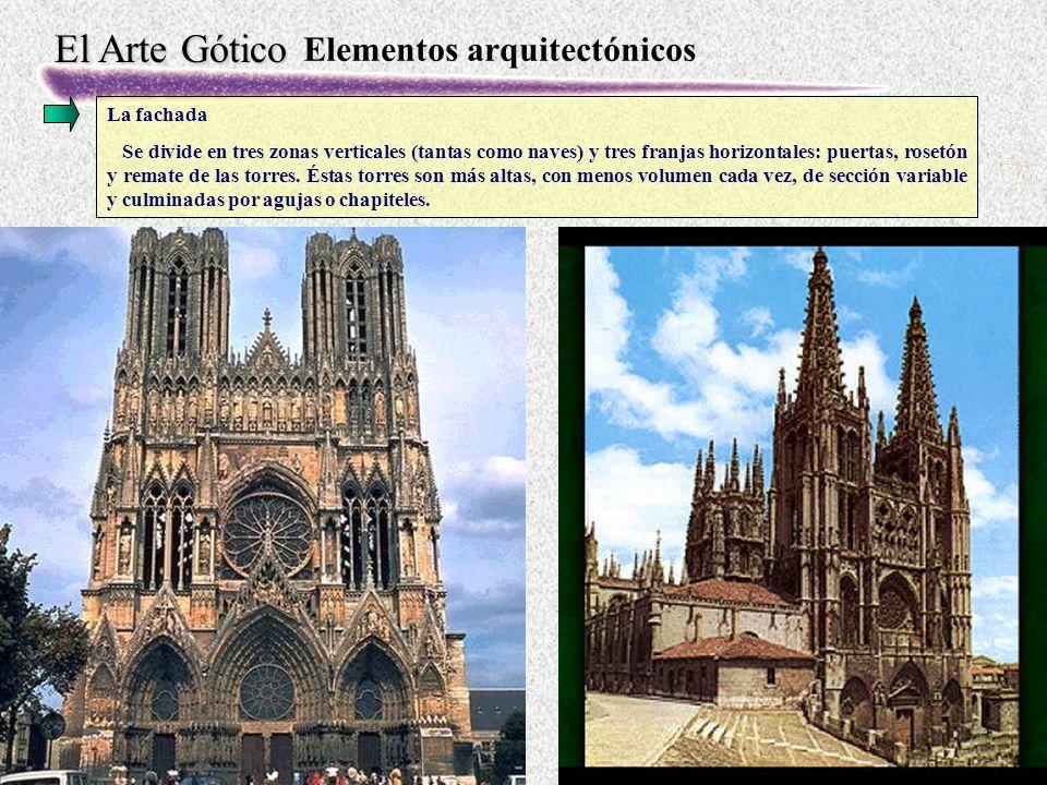 El Arte Gótico Elementos arquitectónicos La fachada Se divide en tres zonas verticales (tantas como naves) y tres franjas horizontales: puertas, rosetón y remate de las torres.