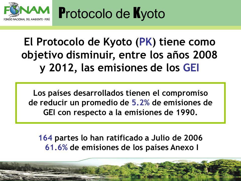 El Protocolo de Kyoto (PK) tiene como objetivo disminuir, entre los años 2008 y 2012, las emisiones de los GEI Los países desarrollados tienen el comp