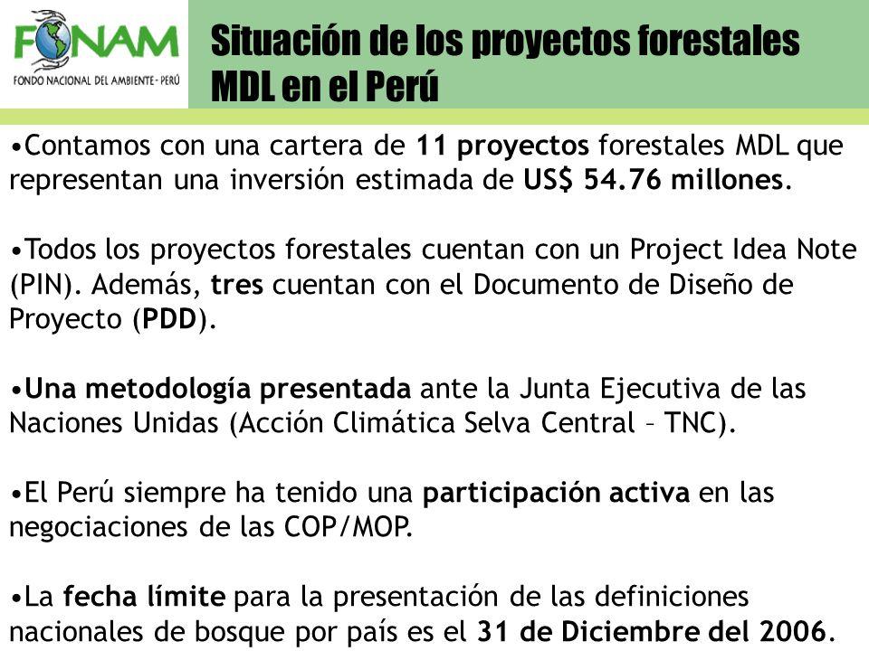 Situación de los proyectos forestales MDL en el Perú Contamos con una cartera de 11 proyectos forestales MDL que representan una inversión estimada de