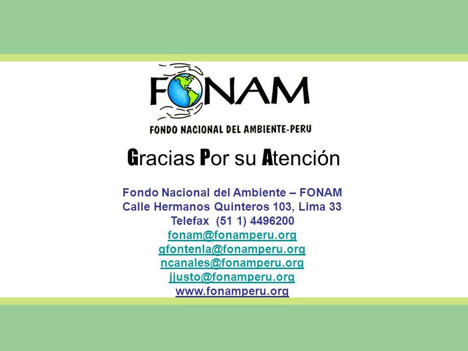 G racias P or su A tención Fondo Nacional del Ambiente – FONAM Calle Hermanos Quinteros 103, Lima 33 Telefax (51 1) 4496200 fonam@fonamperu.org gfonte